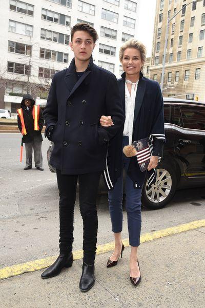 Anwar Hadid and Yolanda Foster came to watch Gigi Hadid walk in the show.