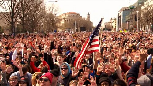Massive protests in favour of gun control have taken place across the US.