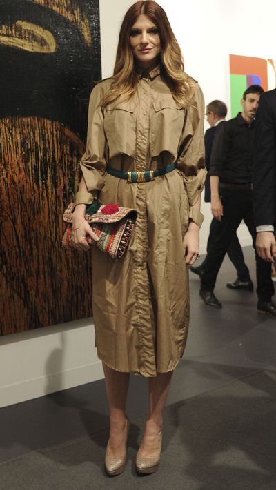 This guest at Art Basel Miami Beach makes her Thierry Mugler vintage coat the centrepiece by buttoning up to create a dress. Play along at home by ditching the trench belt and adding a more extravagant one of your own.