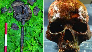 The skulls and stake found at Kanaljorden in Sweden. (Images: S.Gummesson et al).