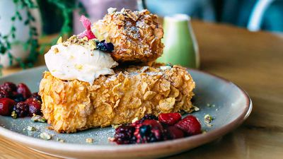 "Recipe: <a href=""https://kitchen.nine.com.au/2017/06/09/14/16/wild-sage-cornflake-crumbed-french-toast"" target=""_top"">Wild Sage's Cornflake crumbed French toast with berries and mascarpone</a>"