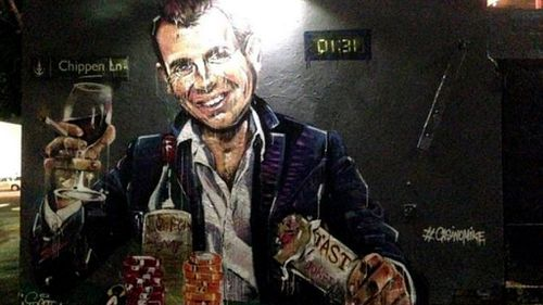 Sydney street artist gives Mike Baird a spray in street mural over lock-out laws