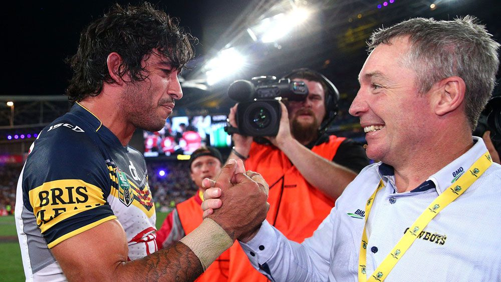 Johnathan Thurston (l) with Paul Green. (Getty)