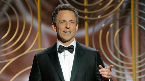 It's the first time The Late Night host has hosted the Golden Globes - and he didn't hold back.