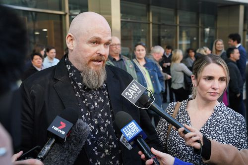 Shannon and Tracey Larsen, the parents of the victim Georgia Larsen, speak to the media outside the County Court of Victoria in Melbourne.