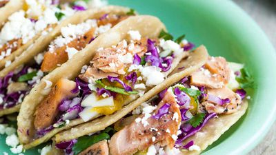 """Recipe: <a href=""""https://kitchen.nine.com.au/2017/11/16/15/30/easy-wild-pink-salmon-tacos"""" target=""""_top"""">Easy wild pink salmon tacos</a>"""