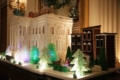 Plus a gingerbread White House in the State Dining Room. Because there is nothing too excessive for the First Family. (Alex Wong/Getty)
