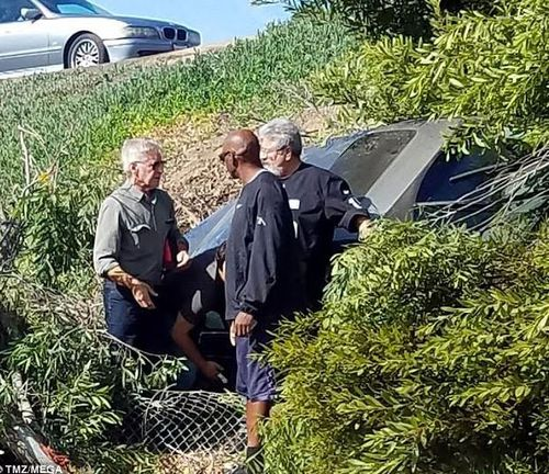 Harrison Ford and a friend were driving on the highway when they spotted the accident.