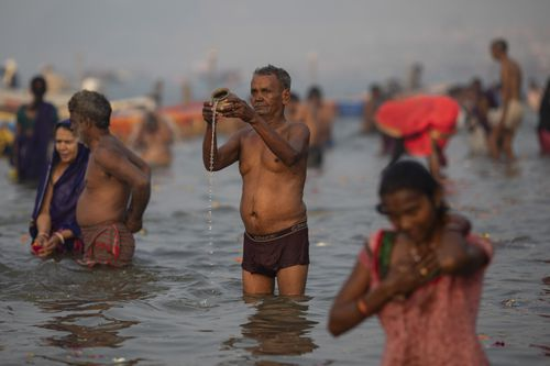 Hindus believe bathing at Sangam, the confluence of three rivers, will cleanse their sins.