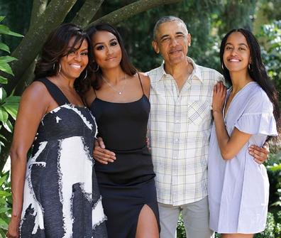 Michelle and Barack Obama with daughters Sasha, 18, (left) and Malia, 21.