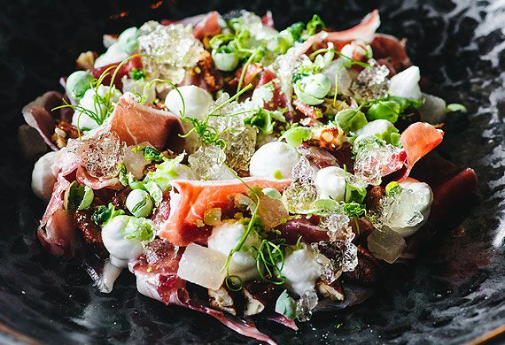 Jamon salad with spiced pecans and apple mint jelly