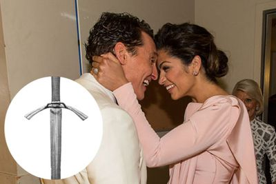 Matthew McConaughey and Camila Alves were gifted a sword when they were married. <br/><br/>The unconventional gift was from Washington State University football coach Mike Leach, who's been a long time friend of Matthew's. Personal joke, perhaps?