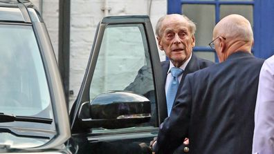 The Duke of Edinburgh leaves King Edward VII Hospital in London, after being admitted last Friday for observation and treatment in relation to a pre-existing condition
