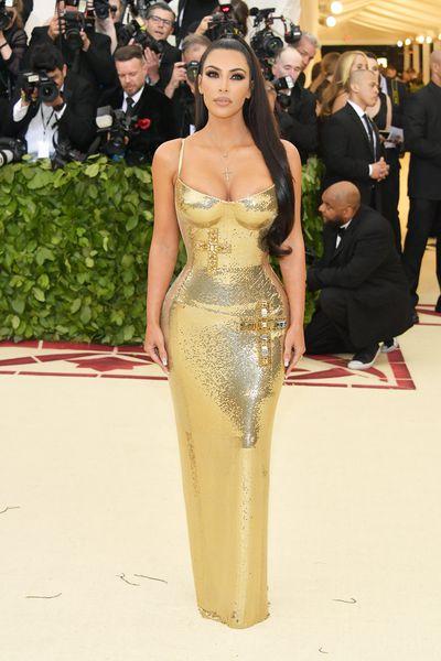 Reality TV star and beauty mogul Kim Kardashian West in Versace