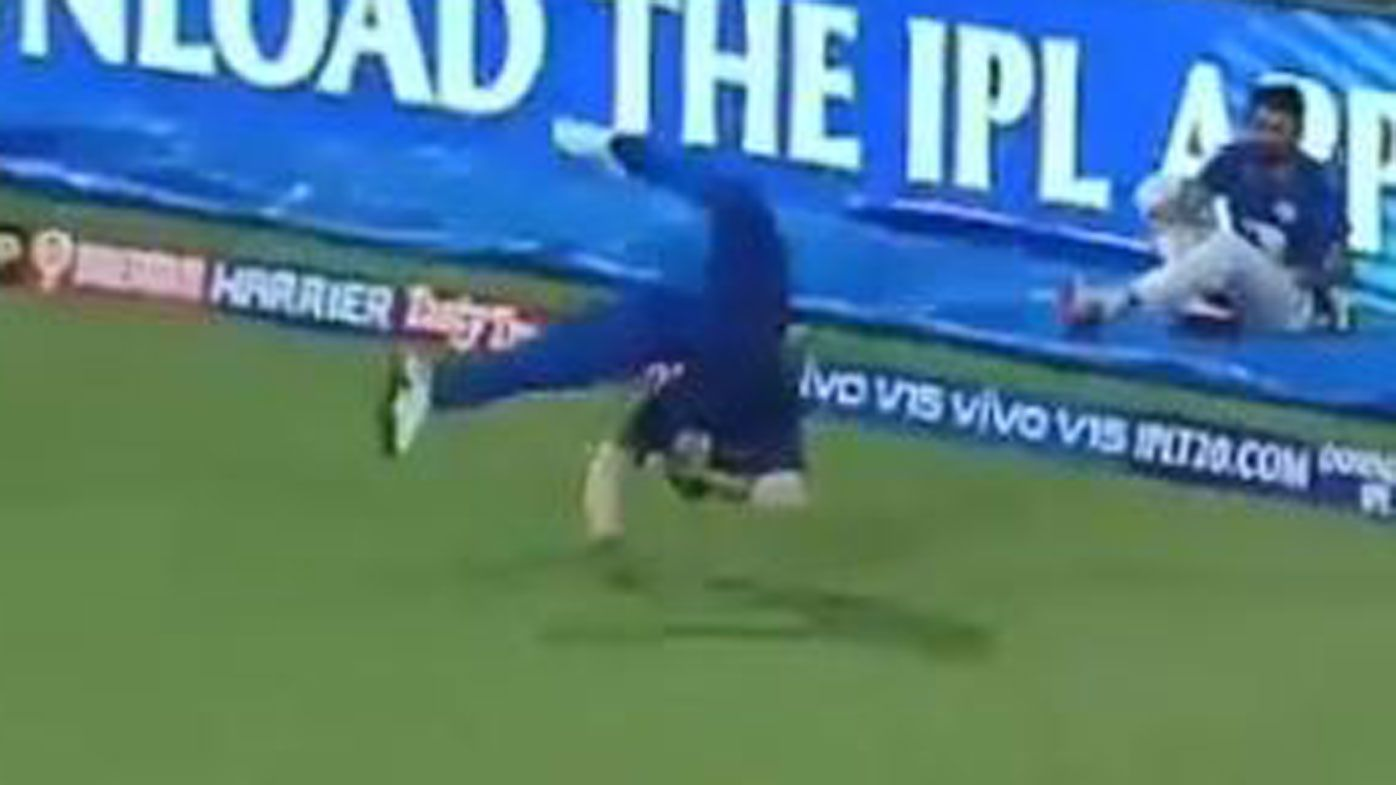 Kieron Pollard takes stunning outfield catch in IPL, ending with somersault