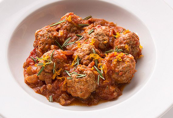 Tobie Puttock's trim meatballs in a rich tomato sauce