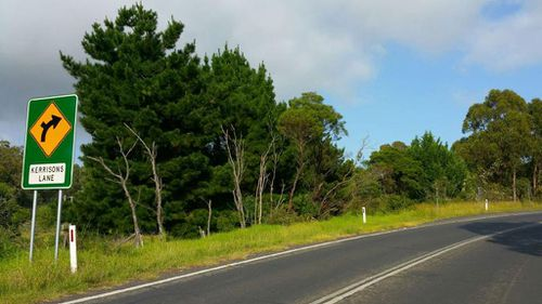 The isolated road where two children survived the car crash that killed their mother. (9NEWS)