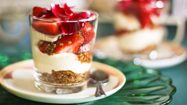 Marinated strawberry and rose ricotta cheesecake glass