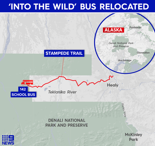 The bus was located in the heart of the Alaskan wilderness.