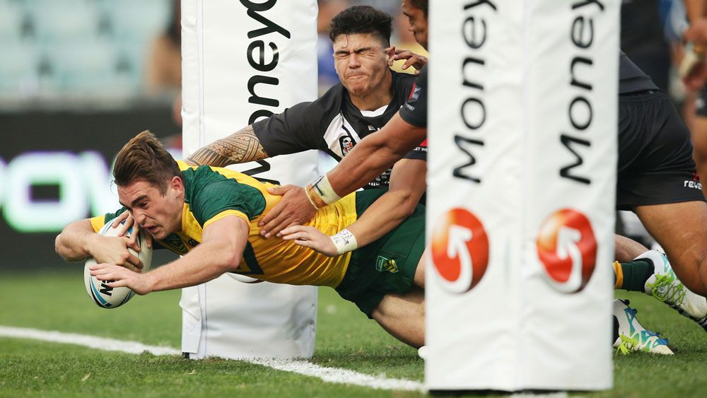 Connor Watson scores for the Junior Kangaroos. (Getty)