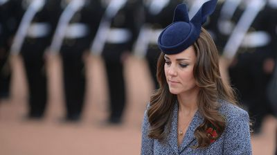 Duchess Kate arrives to attend the Commemorative Service during the Anzac Day ceremony at the Australian War Memorial in Canberra. (AAP)