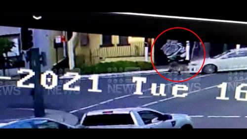 A pedestrian was flung into the air when hit by a white Mitsubishi Lancer in Sydney yesterday.