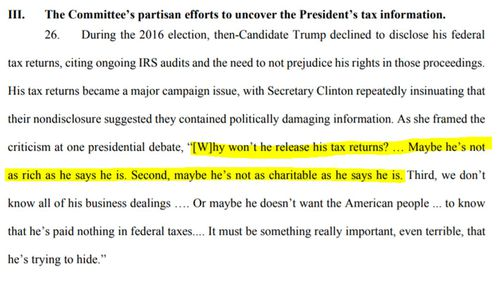 Donald Trump's lawsuits cites the political arguments made by Democrats to access his tax returns.