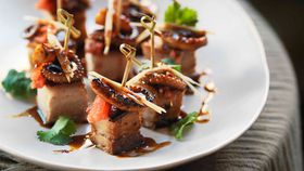 Crisp pork belly and grilled octopus with watermelon & black vinegar