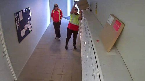 Women in NZ Post uniforms allegedly steal parcels from Auckland apartment building.
