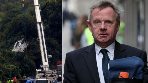 Pilot Andrew Hill faces manslaughter charges. Left: wreckage from the crashed Hawker Hunter.