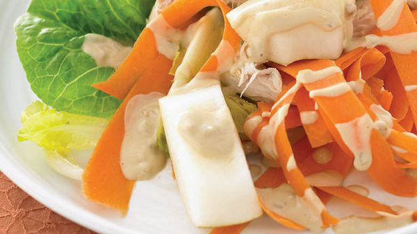 Satay and chicken nashi salad