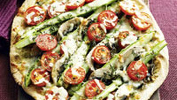 Asparagus, mushroom, tomato and mozzarella pizza