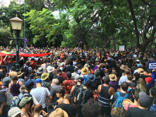 "Up to 1,500 people joined a ""Invasion Day"" rally in Brisbane (Supplied)."