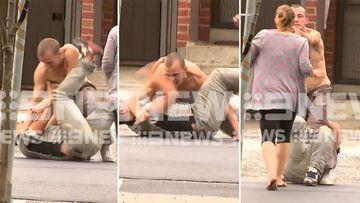 Man loses pants in wild street brawl