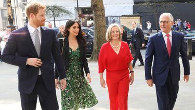Meghan and Harry meet former Australian Prime Minister Malcolm Turnbull, 21 April 2018
