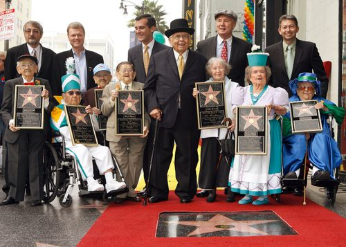 The Munchkins as they receive a star on the Hollywood Walk of Fame in Los Angeles in 2007. Picture: AAP