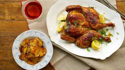 """Recipe: <a href=""""http://kitchen.nine.com.au/2016/05/16/13/58/butterflied-garlic-chilli-chicken-with-crisp-sweet-potatoes"""" target=""""_top"""">Butterflied garlic chilli chicken with crisp sweet potatoes</a>"""