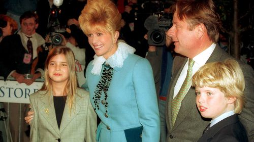 Ivana Trump with her children Ivanka and Eric and her soon-to-be second husband  Ricardo Mazuchelli. (AAP)