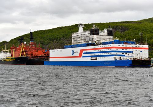 A view of Akademik Lomonosov, a floating nuclear power unit, its hull painted at the Atomflot base. The vessel belongs to a new class of energy sources based on Russian nuclear shipbuilding technologies.