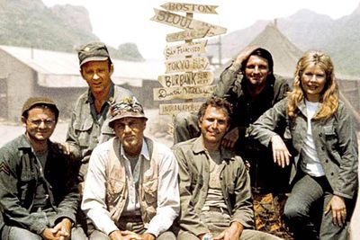 <B>How he died:</B> The cast of <em>M*A*S*H</em> thought Blake (McLean Stevenson, third from left) would get a cheery send-off &mdash; and he did, kinda. There were teary farewells before he hopped on a transport plane to take him home from Korea... and then the plane was shot down, crashing into the Sea of Japan. Survivors: zero.