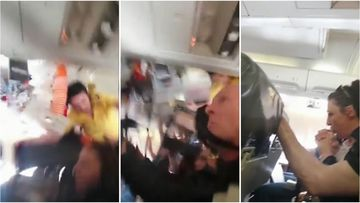 A flight attendant was thrown into the ceiling during mid-air turbulence on board an ALK Airlines flight in Kosovo.