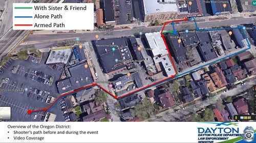 The third map shows him taking the same path before the shooting begins.