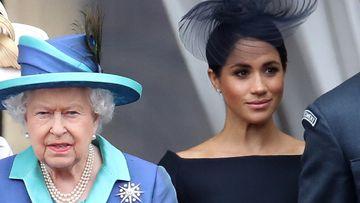 Harry, Meghan and Queen Elizbeth in 2018.