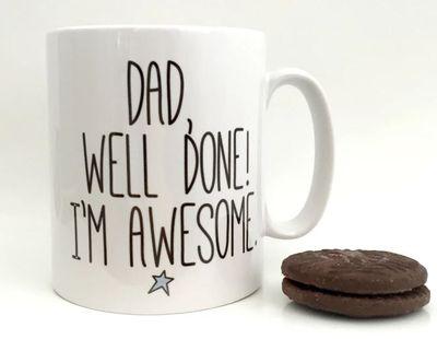 "<a href=""https://www.hardtofind.com.au/99369_well-done-dad-fathers-day-mug"" target=""_blank"">Well Done Dad Father's Dad Mug, $40.</a>"