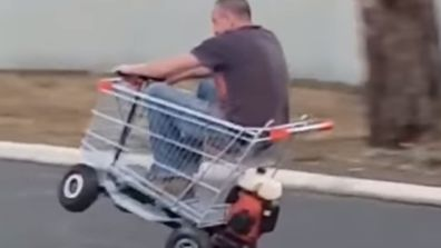 Adelaide man's motorised trolley fun.