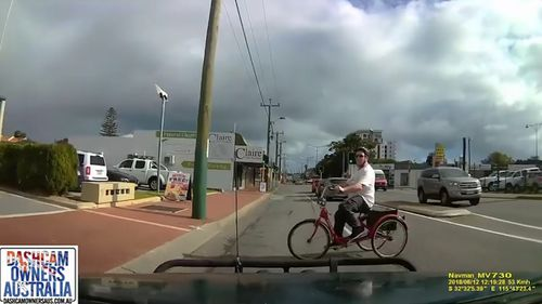 The car attempted to stop but slammed straight into the cyclist. (Dashcam Owners Australia)