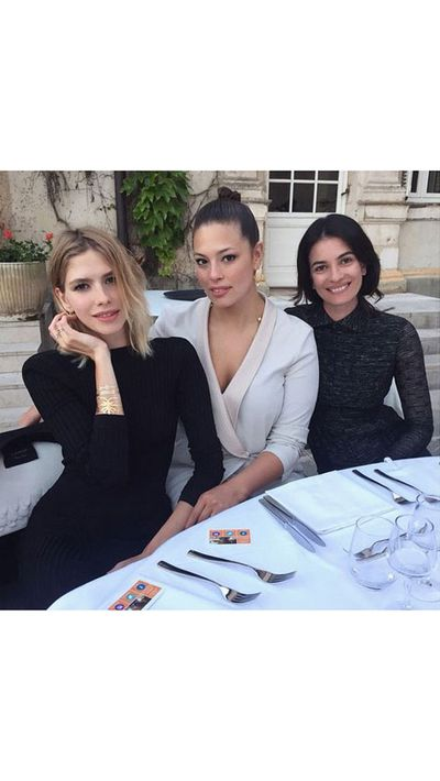 <p>Elena Perminova, model Ashley Graham and Leila Yavari make a stylish pit-stop.</p>