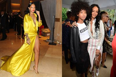 """Rihanna won Best Urban Contemporary Album for <i>Unapologetic</i>, but couldn't be fussed turning up. """"$weet $urprise, pretty ph---ing rad! Thank you,"""" she tweeted.<br/><br/>RiRi did participate in the pre-Grammy festivities though: she popped into both Clive Davis' Pre-Grammy Gala and Roc Nation's pre-Grammys party on Saturday (pictured with Willow Smith)."""