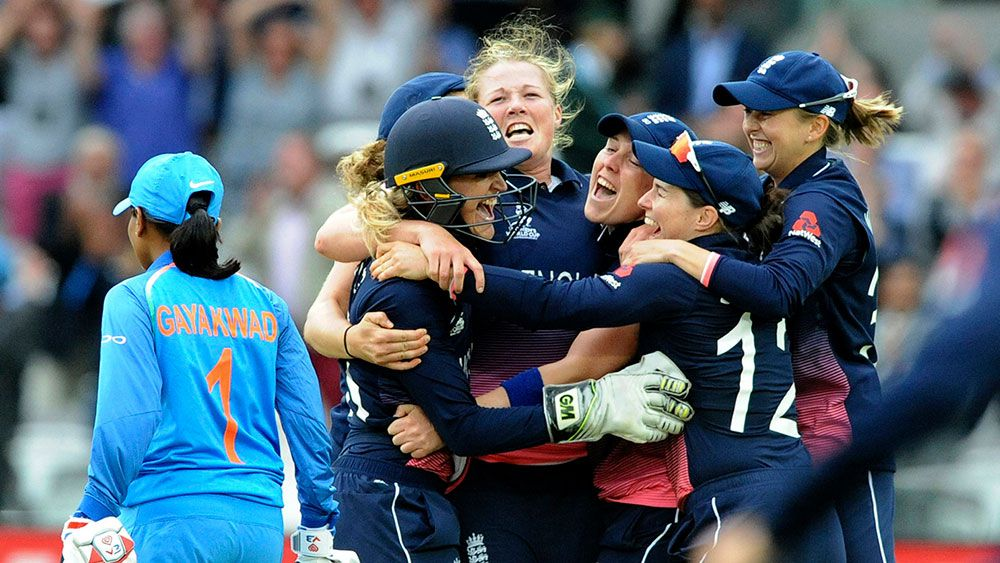 England players celebrate their World Cup win. (AAP)
