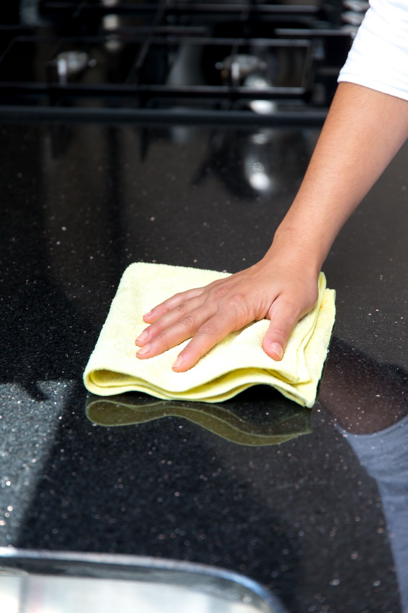 Giving your countertops a quick wipe down